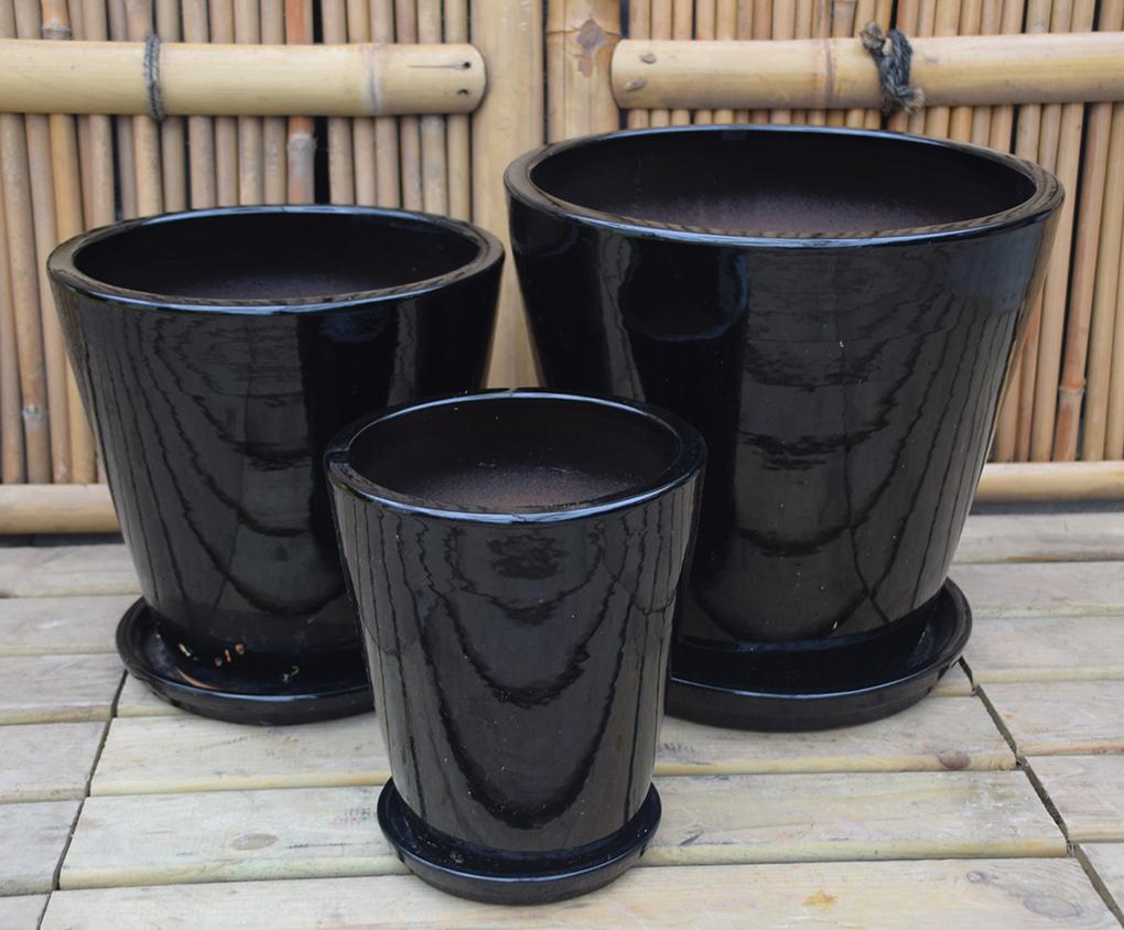 sort blank glaseret havekrukke