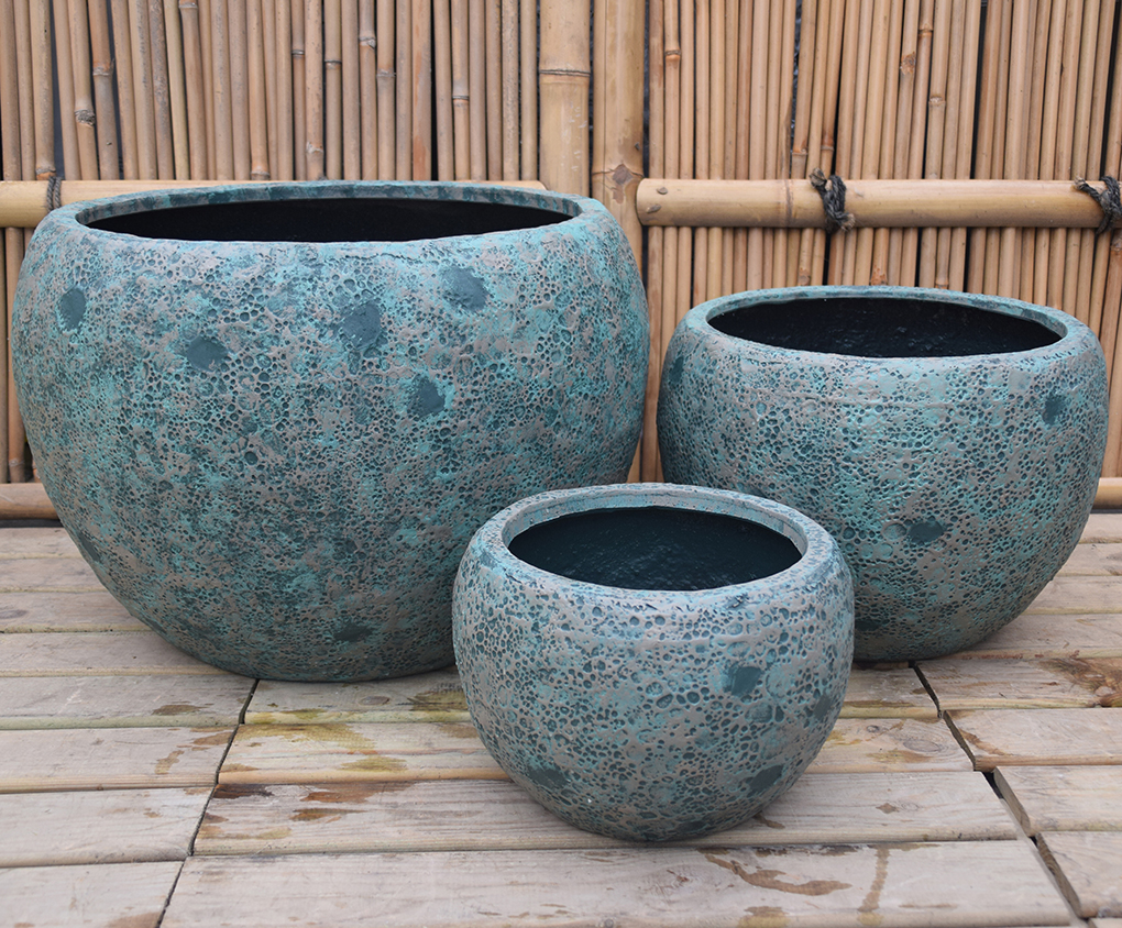 antik grøn fiberstone krukke